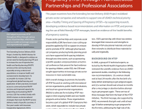 Promoting Healthy Timing and Spacing of Pregnancy (HTSP) through Pharmaceutical Partnerships and Professional Associations