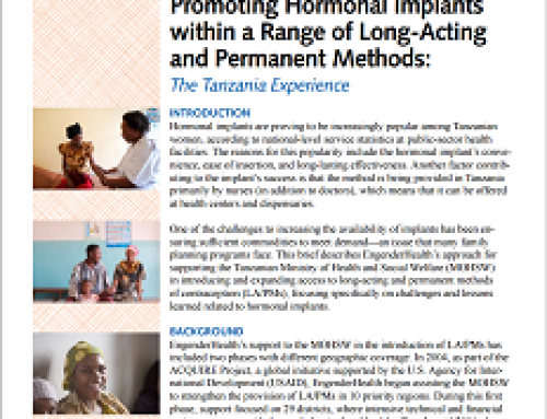 Promoting Hormonal Implants within a Range of Long-Acting and Permanent Methods: The Tanzania Experience